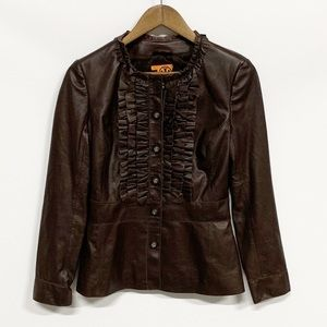 Tory Burch | Brown Leather Ruffle Button-up Jacket